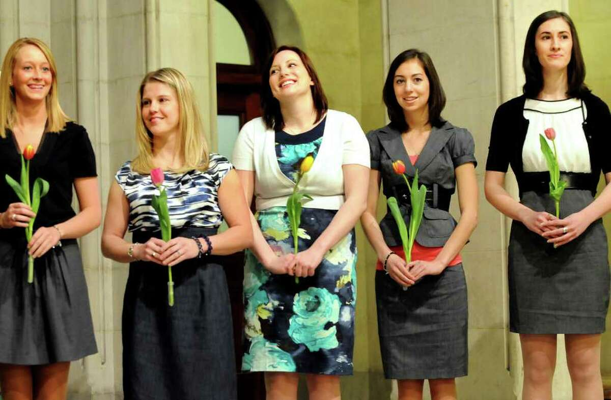 The five finalists for 2011 Tulip Queen are introduced at a news conference on Wednesday at City Hall in Albany. They are, from left, Marjorie Adriance, 18, of Knox; Karen Colehour, 23, of Colonie; Katie Headd, 22, of Albany; Kelly Landers, 19, of Latham; and Hannah Walker, 21, of Colonie. (Cindy Schultz / Times Union)