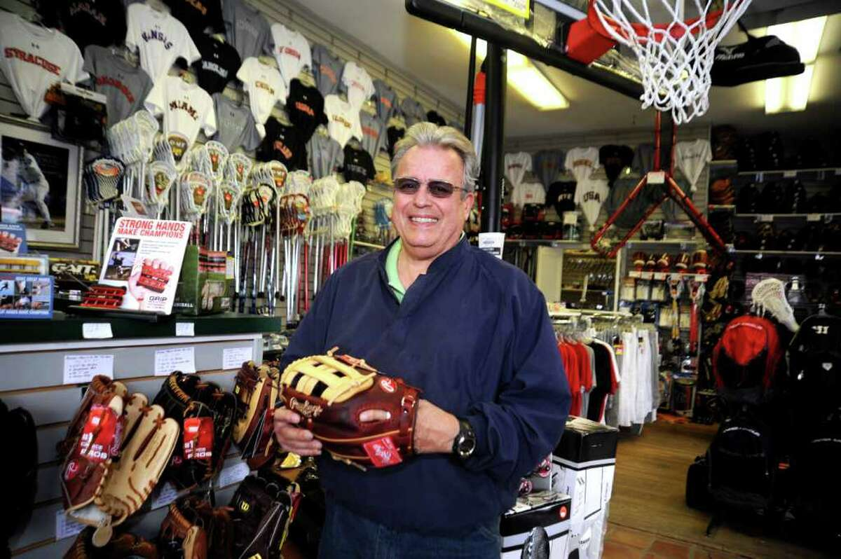 Tom Bisanzo, owner of Bruce Park Sports, in Greenwich, celebrating 40 years in business, stands inside the store on April 20, 2011.