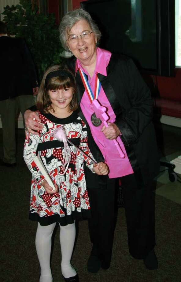 Author Katherine Paterson seen here with granddaughter Jordan Paterson (4th grade East Elementary in New Canaan) at the Library of Congress ceremony. Photo: Contributed Photo / New Canaan News