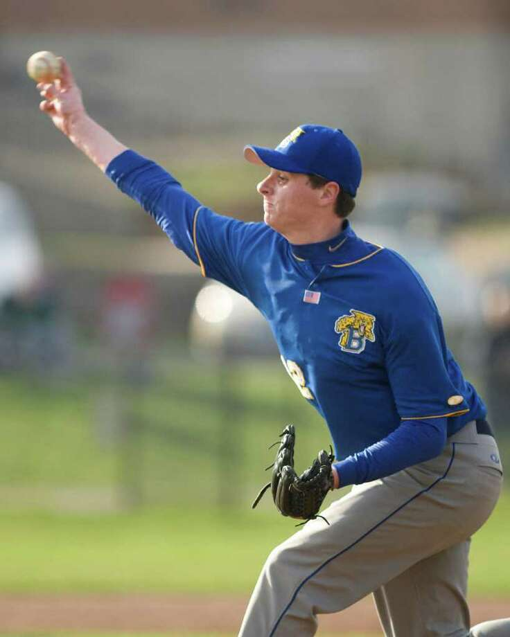 Brookfield's Ryan Berry pitched a complete game victory over Newtown Wednesday at Brookfield High School. Photo: Barry Horn / The News-Times Freelance