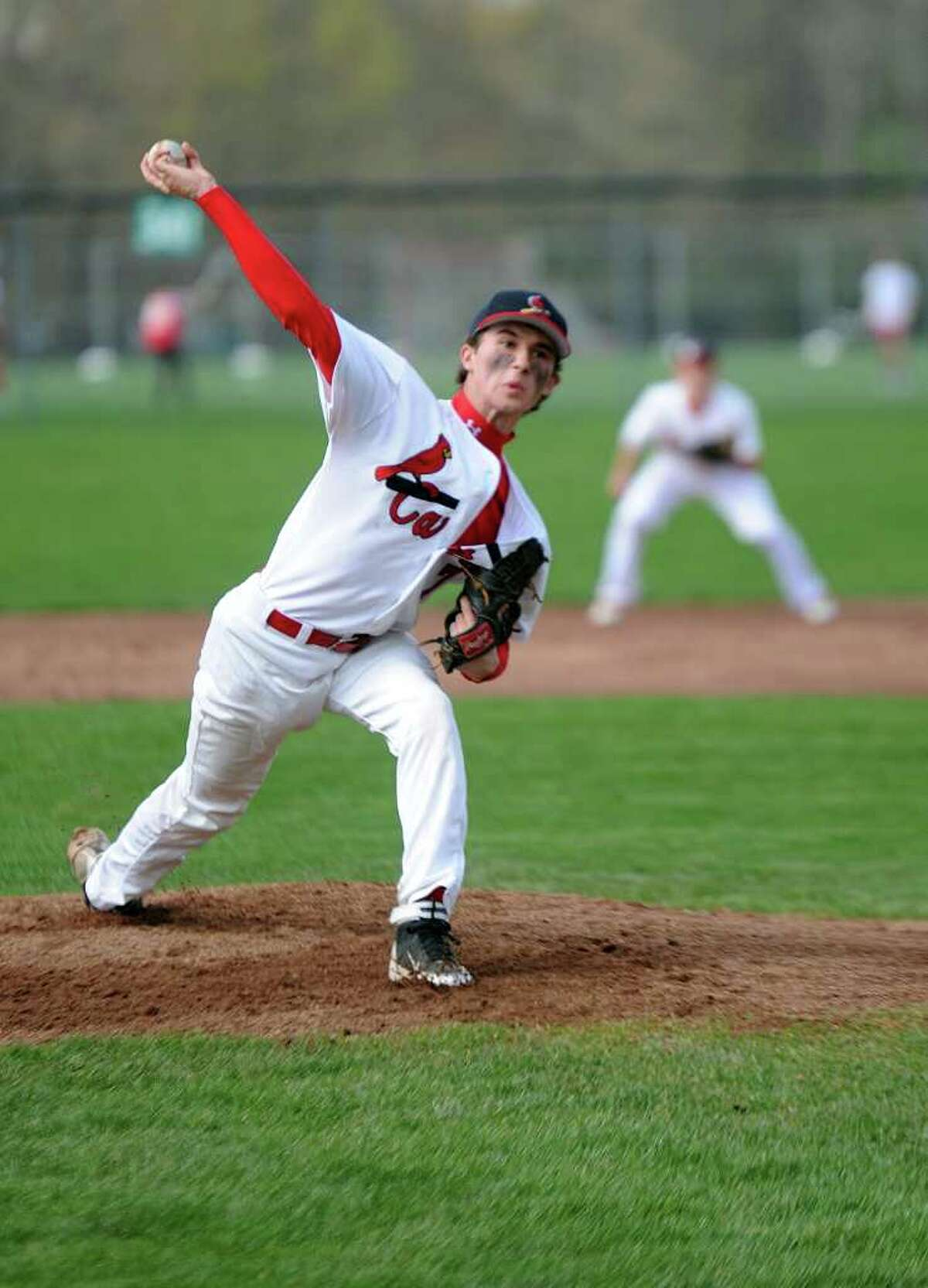 Greenwich pitcher Dylan Callahan throws the ball during Wednesday's game against Danbury at Greenwich High School on April 20, 2011.
