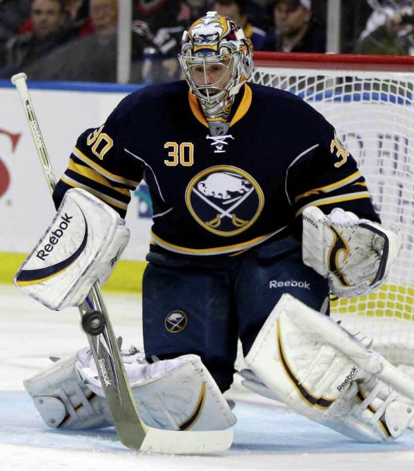 Buffalo Sabres goalie Ryan Miller makes a save against the Philadelphia Flyers during the second period in Game 4 of a first-round NHL Stanley Cup playoffs hockey series in Buffalo, N.Y., Wednesday, April 20, 2011. The Sabres won 1-0. (AP Photo/David Duprey) Photo: David Duprey