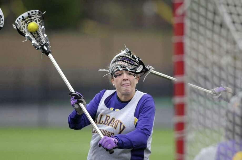 University at Albany women's lacrosse player  Taylor Frink takes a shot on goal during practice on Wednesday morning, April 20, 2011 at John Fallon Field on the campus in Albany.  (Paul Buckowski / Times Union) Photo: Paul Buckowski  / 00012855A