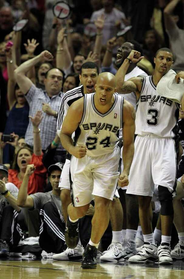 Spurs' Richard Jefferson (24) reacts after hitting a three-pointer against Memphis Grizzlies in the second half in the first round of the Western Conference playoffs at the AT&T Center on Wednesday, April 20, 2010. Spurs won 98-87. Kin Man Hui/kmhui@express-news.net Photo: KIN MAN HUI, Kin Man Hui/kmhui@express-news.net / San Antonio Express-News NFS