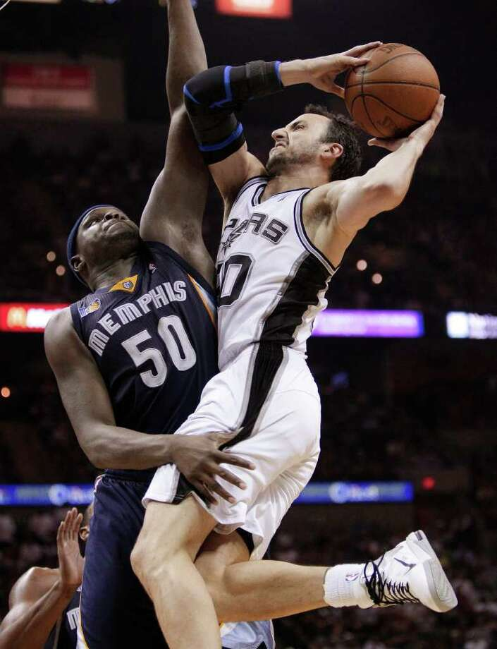 San Antonio Spurs' Manu Ginobili, right, of Argentina, works against Memphis Grizzlies' Zach Randolph (50) during the fourth quarter of Game 2 of a first-round NBA basketball playoff series, Wednesday, April 20, 2011, in San Antonio. Photo: AP