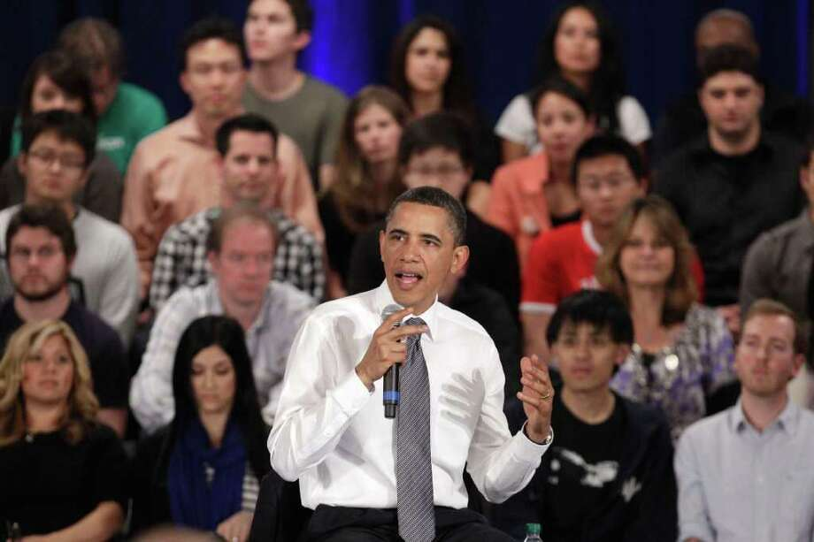 President Barack Obama addresses the crowd during a town hall meeting at Facebook headquarters in Palo Alto, Calif., Wednesday, April 20, 2011. Photo: AP