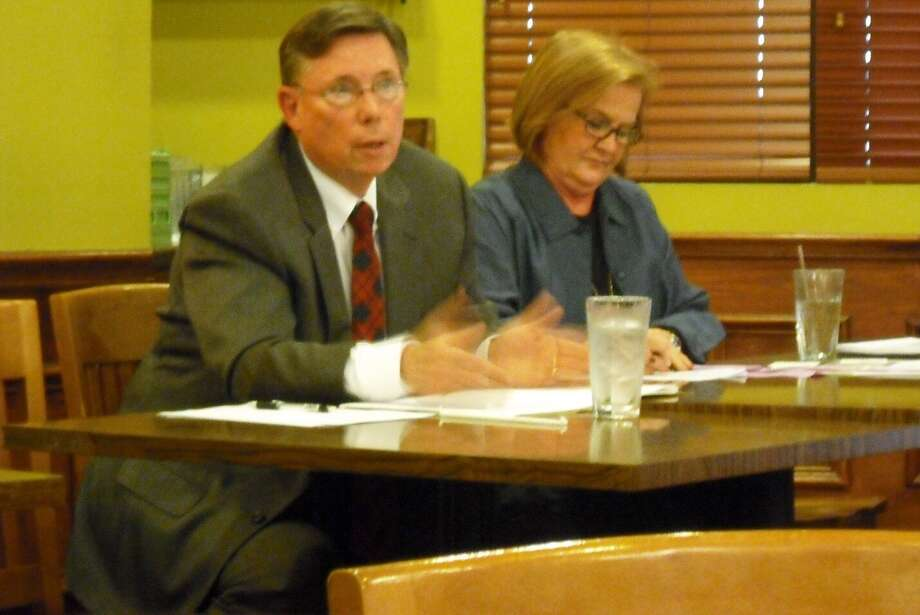 Alamo Heights mayoral candidate Bill Kiel and City Council contestant Susan Harwell take part in a forum Monday at Earl Abel's restaurant. The League of Women Voters of the San Antonio Area arranged the event. Photo: Edmond Ortiz