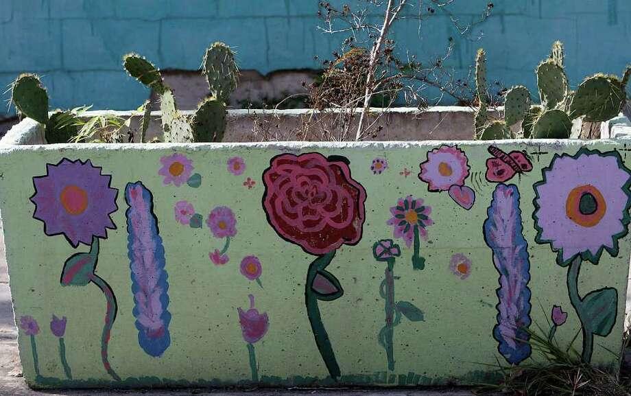 "Detail from San Anto Cultural Arts ""Flower Power"" mural at 913 South Brazos on Tuesday, Jan. 6, 2009.  Photo: JERRY LARA, SAN ANTONIO EXPRESS-NEWS / glara@express-news.net"
