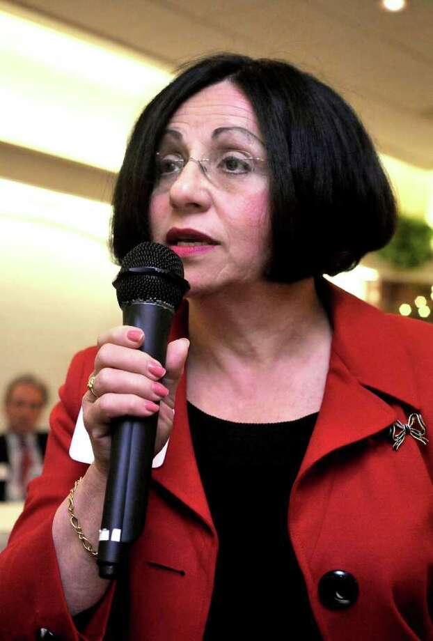 State Sen Toni Boucher, R-Wilton, responds to a question  about state monetary policy during the Eggs and Issues Legislative Breakfast at the Stony Hill Inn in Bethel, on Friday, April 16, 2010. Photo: Michael Duffy / The News-Times