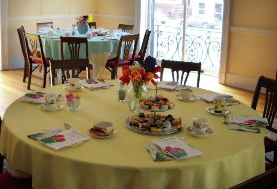 Table setting for last year?s 1st Annual Tulip Tea, sponsored by the Delmar Progress Club, at the Albany Institute of History and Art. (Courtesy Delmar Progress Club)