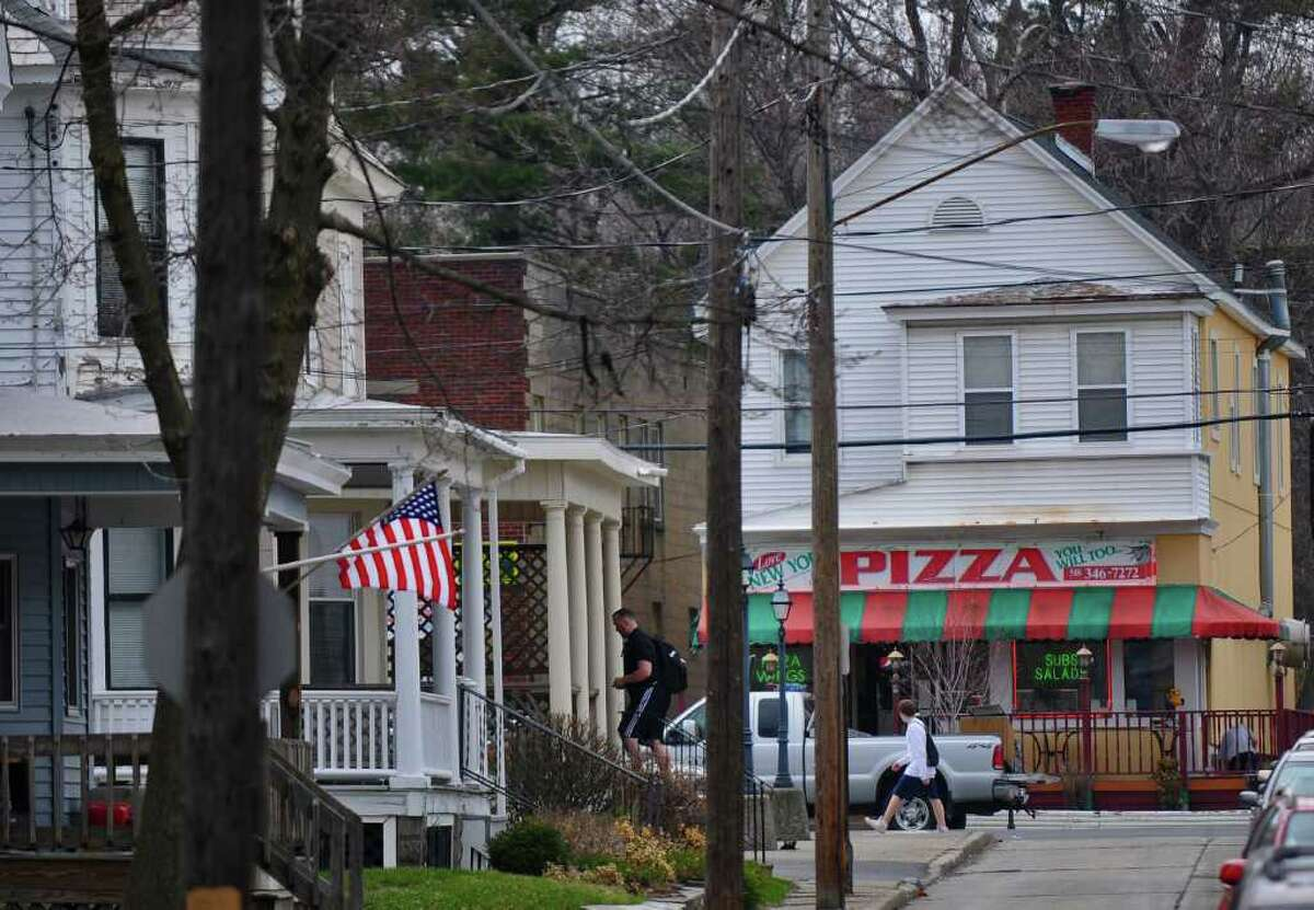 The quieter sidewalks of Livingston Avenue lead to the busy Union Street in Schenectady, N.Y. (Philip Kamrass / Times Union)