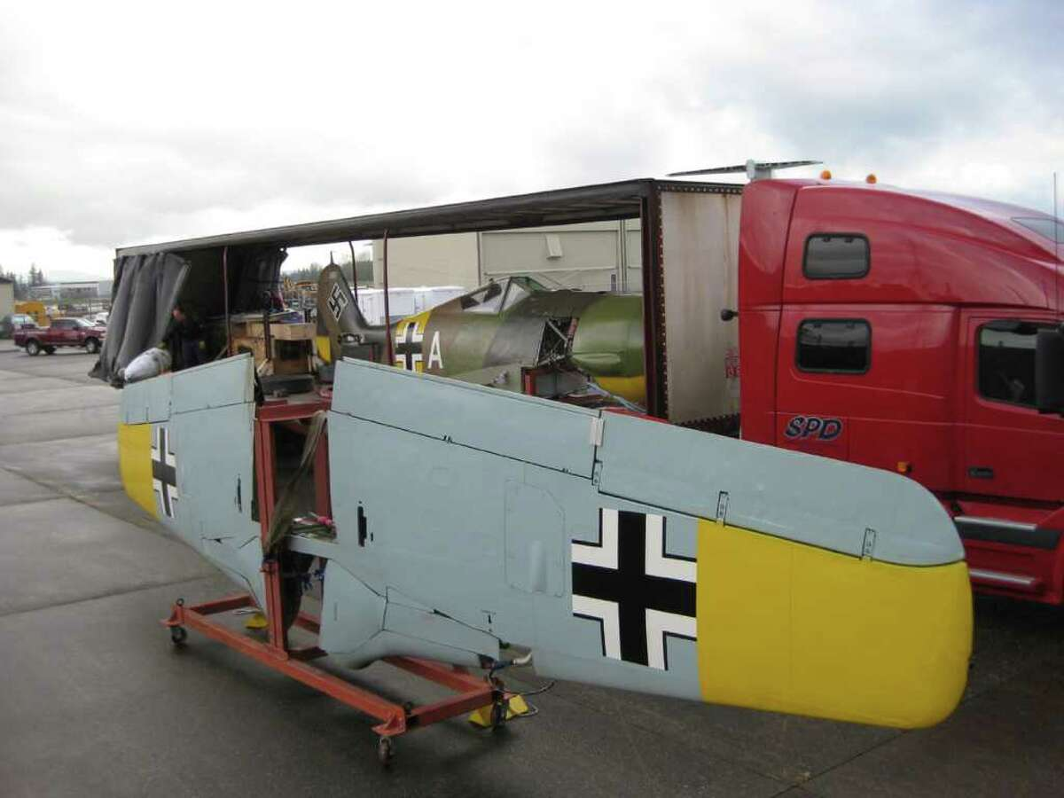 The wings and fuselage of the world's only flying German Focke-Wulf 190 A-5 arrive on April 21, 2011 at the Flying Heritage Collection, in Everett, Wash., after being trucked in pieces up from Arizona, where it was restored.