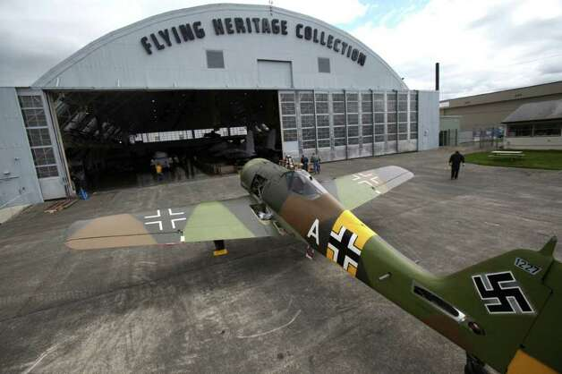 The world's only flying German Focke-Wulf 190 sits outside the Flying Heritage Collection hangar on Thursday, April 21, 2011 in Everett, Wash. The airplane is being reassembled at the museum after being trucked in pieces up from Arizona, where it was restored. Photo: JOSHUA TRUJILLO / SEATTLEPI.COM