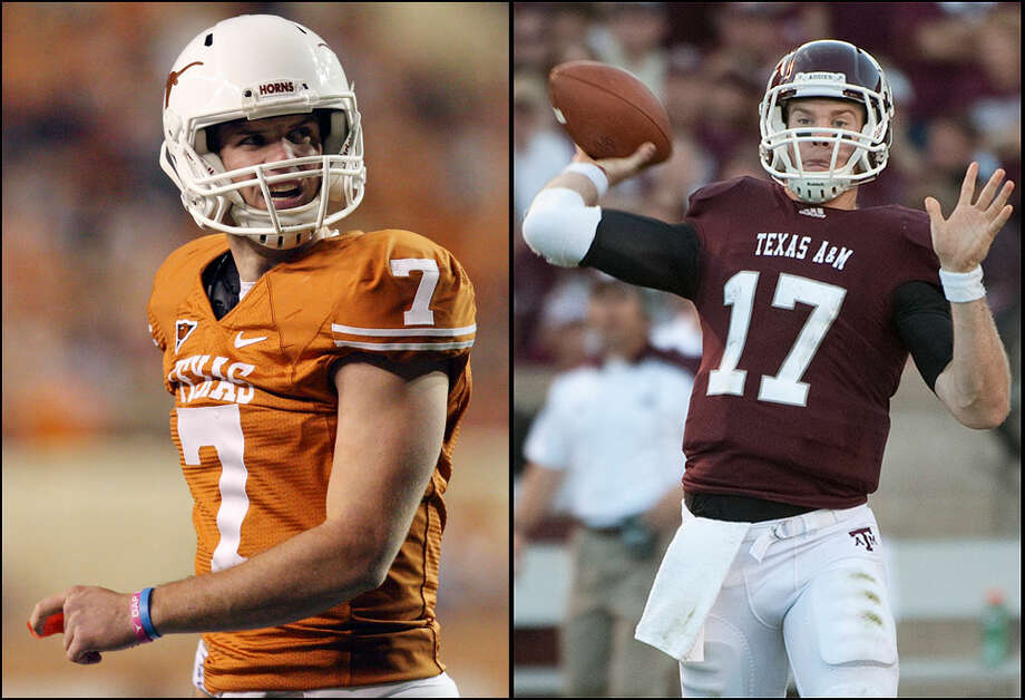 Garrett Gilbert (left) is trying to keep his starting quarterback job at Texas, but he has competition.  Texas A&M quarterback Ryan Tannehill (right) threw for 13 touchdowns in seven starts last season. Photos by EDWARD A. ORNELAS/eaornelas@express-news.net (left) and DAVE EINSEL/Associated Press (right)