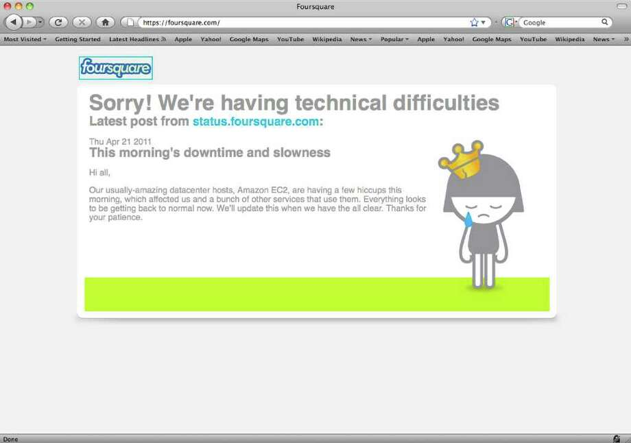 In this screen shot of the fousquare.com website, an apology for technical difficulties is displayed. Dozens of major websites including Foursquare, Reddit and others crash or suffer severe slowdowns after technical problems wrack their hosting company, Amazon.com.  (AP Photo/foursquare.com)