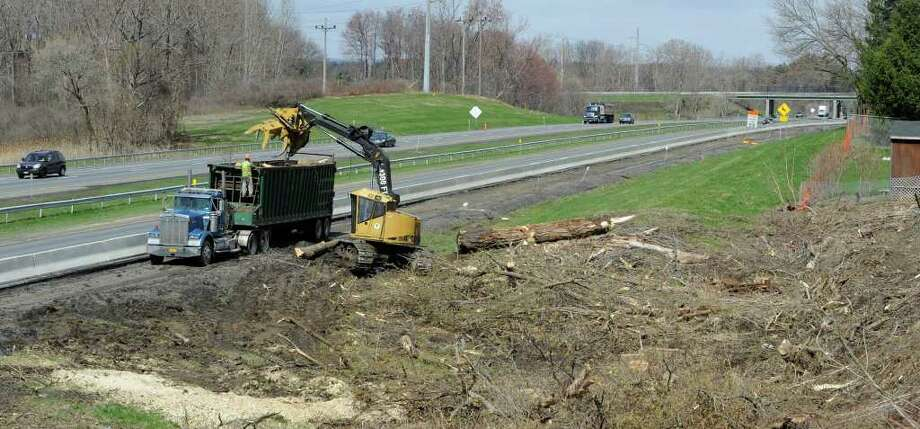 Work continues on the expansion of the lanes between exits 23 and 24 on the New York State Thruway in Albany, N.Y. April 21, 2011.  (Skip Dickstein/ Times Union) Photo: Skip Dickstein