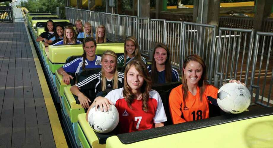 FOR SPORTS -  Front row (LEFT TO RIGHT): Taft's Tara Van Hulle and Brandeis' Amanda Watkins Second row: Churchill's Lauren Peck and O'Connor's Anissa Munson Third row: Alamo Heights' Shannon Canty and Reagan's Sarah Van Horn Fourth row: MacArthur's Kelsey Falcone and Bandera's McKenna Mangold Fifth row: Johnson's Jazma Latu and Johnson's Sharis Lachappelle Sixth row: Smithson Valley's Nikki Nichols and Boerne Champion's Morgan Glick  Monday April 18, 2011 on the Steel Eel at Sea World. (PHOTO BY EDWARD A. ORNELAS/eaornelas@express-news.net) Photo: EDWARD A. ORNELAS, SAN ANTONIO EXPRESS-NEWS / SAN ANTONIO EXPRESS-NEWS (NFS)