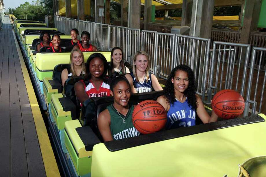 The area's best try on SeaWorld's Steel Eel (front row, from left): Shana Holmes of Southwest, E-N Area Player of the Year Erica Donovan of Jay; (second row) Chamaya Turner of New Braunfels Canyon, Danielle Blagg of Smithson Valley; (third row) Leslie Vorpahl of Churchill, Tori Villarreal of Incarnate Word; (fourth row) Eboni Watkins of Wagner, Sune Agbuke of Cornerstone; (fifth row) Alexis Govan of Stevens, Arielle Roberson of Wagner. EDWARD A. ORNELAS/eaornelas@express-news.net Photo: EDWARD A. ORNELAS, SAN ANTONIO EXPRESS-NEWS / SAN ANTONIO EXPRESS-NEWS (NFS)