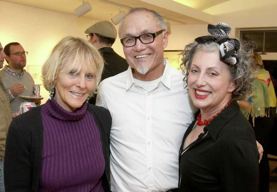 From left: Capital Region art world luminaries Wendy Ide Williams, Paul Miyamoto and Sharon Bates. (Photo by Joe Putrock / Special to the Times Union). Photo: Joe Putrock / Joe Putrock
