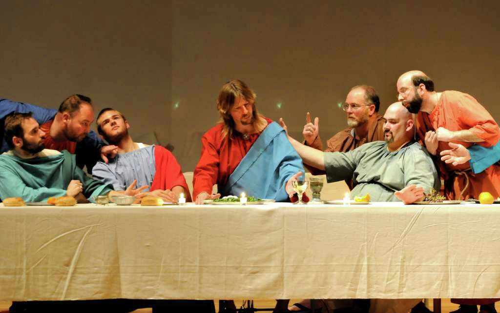 jesus christ played by robert dahoda center and his 12 disciples pose to