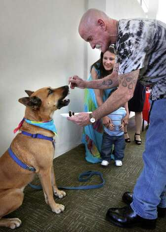 Haven for Hope resident Marion Wright feeds his dog Rudy wedding cake, following Marion and Brenda Willborn, watching, were married by Rev. Ron Brown, Prospects Courtyard Liaison, at the Chapel of Hope at Haven, Saturday, Dec. 4, 2010.  Photo: BOB OWEN, SAN ANTONIO EXPRESS-NEWS / SAN ANTONIO EXPRESS-NEWS