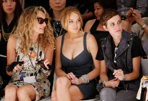 NEW YORK - SEPTEMBER 06:  (L-R) Ann Jones, actress Lindsay Lohan and DJ Samantha Ronson attend the Charlotte Ronson Spring 2009 fashion show during Mercedes-Benz Fashion Week at The Promenade in Bryant Park on September 6, 2008 in New York City. Photo: Brian Ach, Getty Images For IMG / 2008 Getty Images