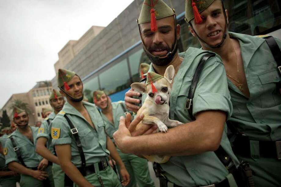 A member of the Spanish Legion carries a dog after the procession of the Christ of the Good Death on April 21, 2011 in Malaga, southern Spain. Christian believers around the world mark the Holy Week of Easter in celebration of the crucifixion and resurrection of Jesus Christ. Photo: AFP/Getty Images