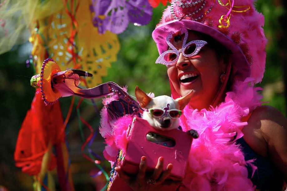 Becky Wenske, with Elvis, rides on the Four Paws Animal Hospital float during the King William Parade in San Antonio, Texas on Saturday, April 16, 2011. The King William Parade and Fair are part of San Antonio's 10-day, city-wide Fiesta party. Photo: AP