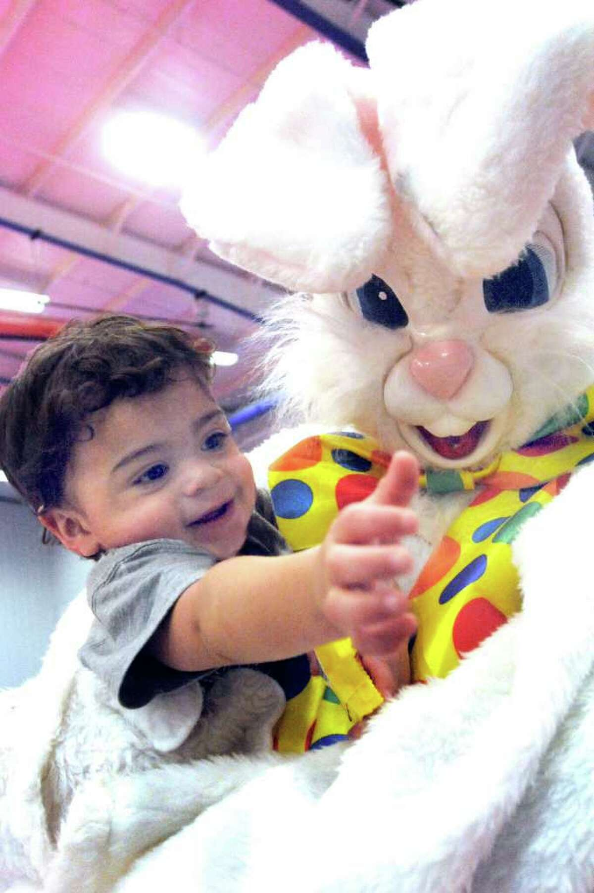 Damien Sanchez, 1, reaches for candy as he hugs the Easter Bunny during the 35th Annual Easter Egg Hunt at the PAL Building in Danbury. The event is sponsored by the Police Athletic League and the Danbury Jaycees.