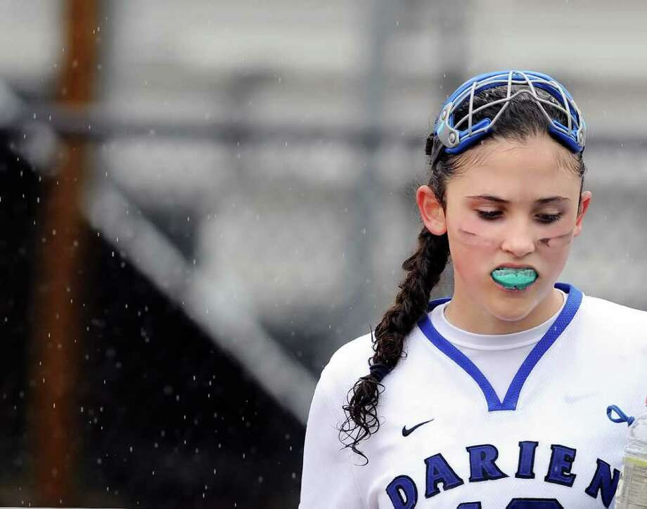 Lauren Pryor of Darien High School during girls high school lacrosse match, Darien High School vs. Greenwich High School at Darien High School, Saturday, April 23, 2011.  Darien came out on top of Greenwich, 8-7. Photo: Bob Luckey / Greenwich Time