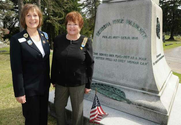 From left, Lisa Doan, Saratoga monument city chairman, and Corinne Scirocco, Saratoga chapter region, stand next the monument honoring Reubena Hyde Walworth at Greenridge Cemetery in Saratoga Springs, N.Y. Friday April 22, 2011. (Lori Van Buren / Times Union) Photo: Lori Van Buren
