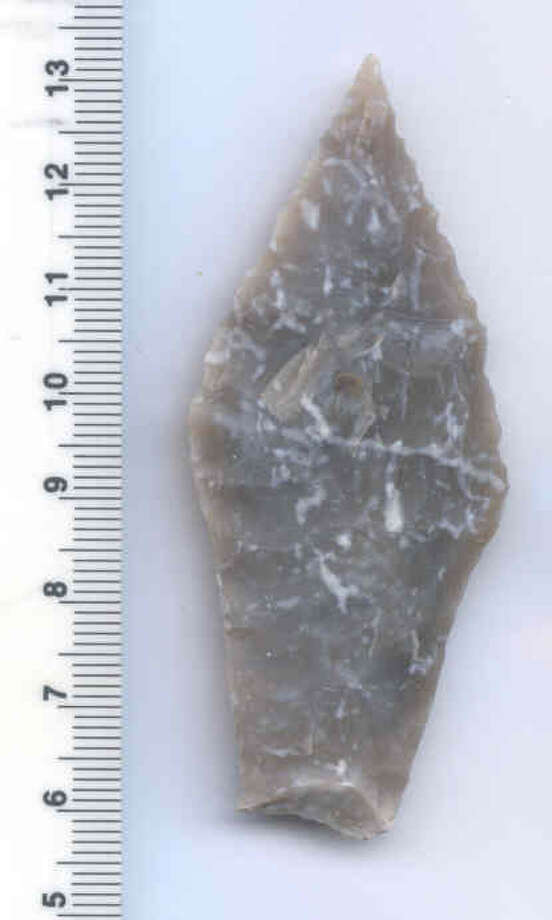 Spear points found last month near Brackenridge Park include a complete Angostura point, at least 8,000 years old.  FS 152-41BX1396 -- a complete Angostura point, at least 8,000 years old. Photo Courtesy of  UTSA's Center for Archaeological Research Photo: Courtesy Of UTSA / Photo Courtesy of  UTSA's Center for Archaeological Research