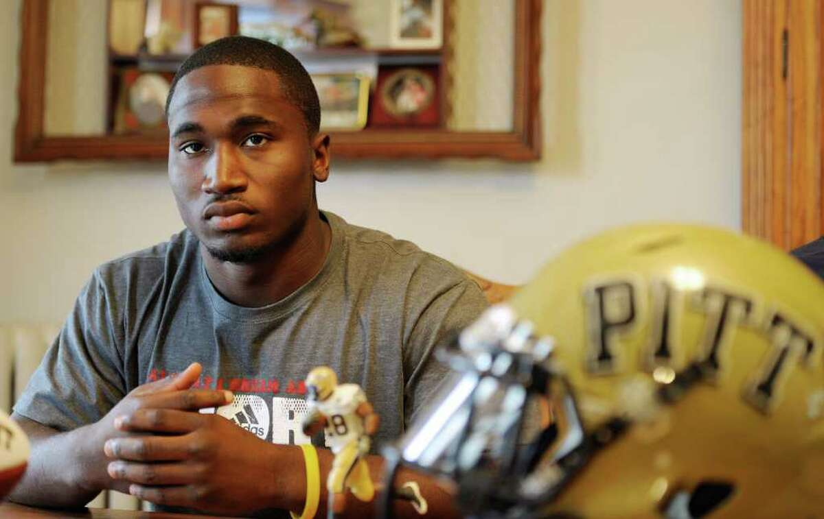 Former Albany Academy and University of Pittsburgh football standout Dion Lewis speaks to the Times Union at his home in Albany, N. Y. April 19, 2011, just a few days before the NFL draft. (Skip Dickstein/ Times Union)