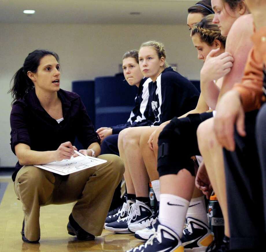 Lauralton Hall girls basketball coach Alessa Podolak-Laczkoski talks to players on the bench during Thursday's game on January 20, 2011. Photo: Lindsay Niegelberg, ST / Connecticut Post