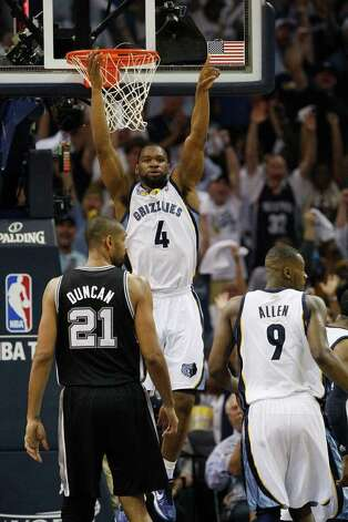 Memphis Grizzlies Sam Young celebrates a dunk during the second half of game four of the Western Conference First Round against the Spurs at FedExForum in Memphis, TN, Monday, April 25, 2011. The Grizzlies won 104-86 and lead the series, 3-1. JERRY LARA/glara@express-news.net / SAN ANTONIO EXPRESS-NEWS (NFS)