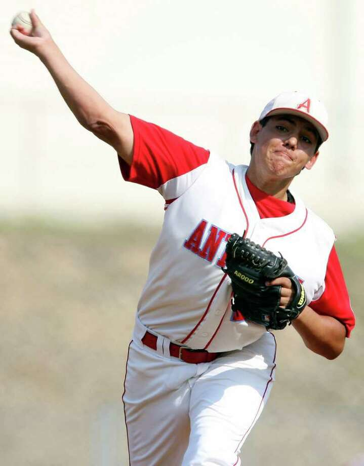 Antonian's Dylan Romo pitches against Austin St. Michael's Monday April 25, 2011 at Antonian High School. EDWARD A. ORNELAS/eaornelas@express-news.net / SAN ANTONIO EXPRESS-NEWS (NFS)