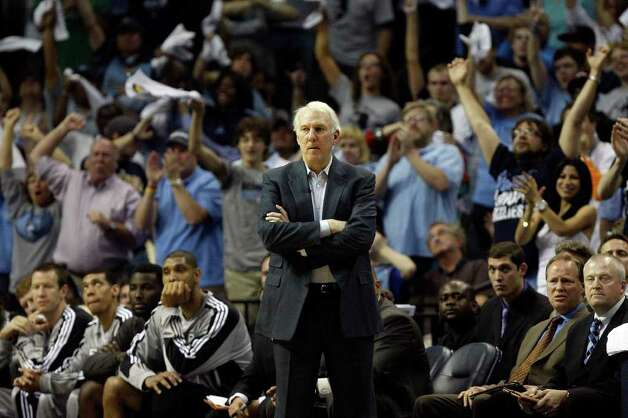 Spurs Coach Gregg Popovich looks on as the Memphis Grizzlies take game four of the Western Conference First Round at FedExForum in Memphis, TN, Monday, April 25, 2011. The Grizzlies won 104-86 and lead the series, 3-1. JERRY LARA/glara@express-news.net / SAN ANTONIO EXPRESS-NEWS (NFS)