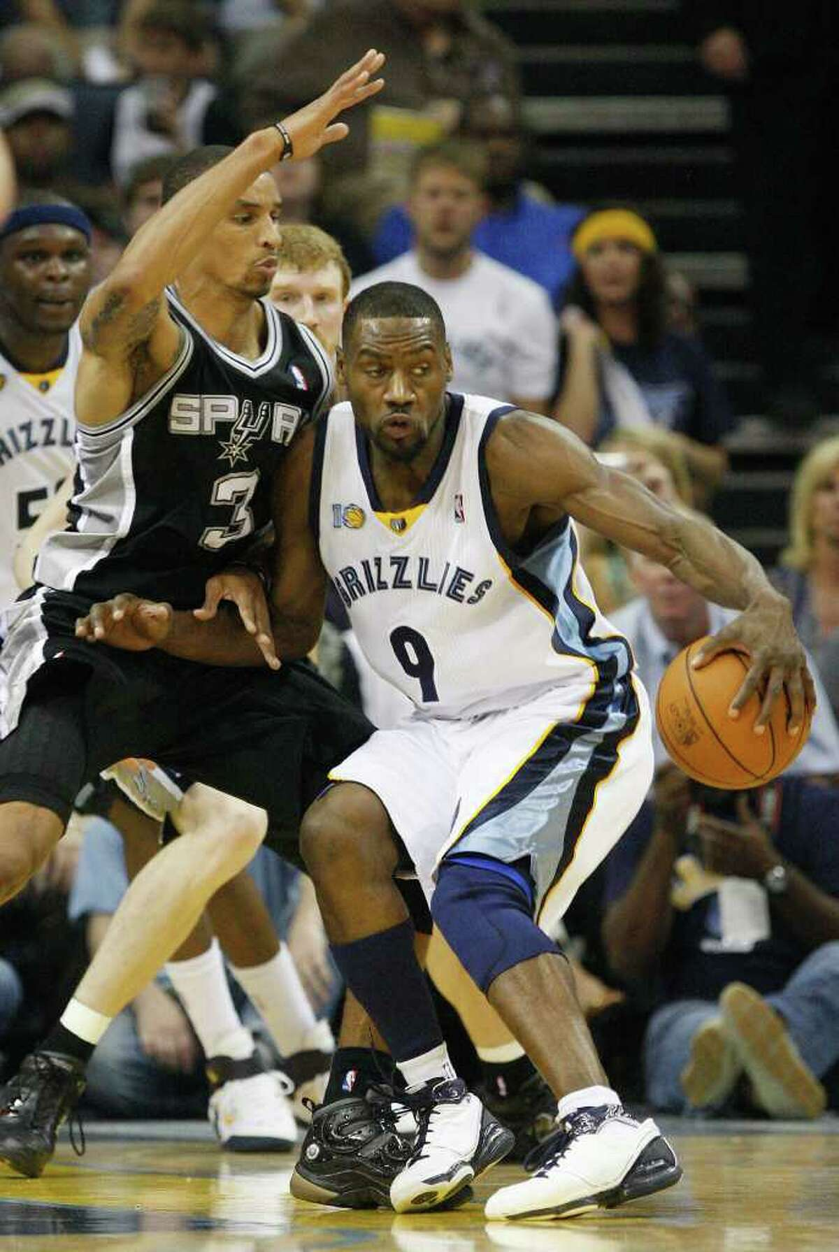 Spurs George Hill tries to defend against Memphis Grizzlies Tony Allen during the first half of game four of the Western Conference First Round at FedExForum in Memphis, TN, Monday, April 25, 2011. JERRY LARA/glara@express-news.net