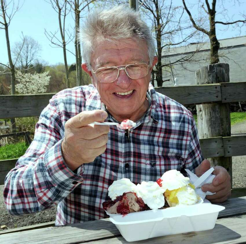 Ivan Zamuda regularly rides his motorcycle from his home in Trumbull and stops by Ferris Acres Creamery for a banana split. Photo taken Tuesday, April 27, 2011.