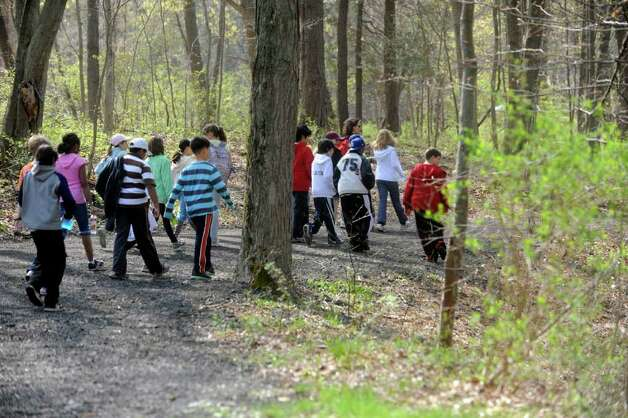 "Greenwich Public Schools fifth-graders participate in ""Orienteering Adventure Days"" at Seton Scout Reservation on Monday, April 26, 2011 to meet students who will attend their middle schools next year. Photo: Helen Neafsey / Greenwich Time"