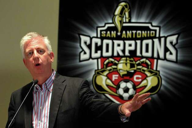 Gordon Hartman and the San Antonio Scorpions hold a press conference on the upcoming season, the appointment of a president for the team and their plans for a stadium near Morgan's Wonderland on Tuesday, April 26, 2011. The team is expecting to play their first game in 2012. Photo: Kin Man Hui/kmhui@express-news.net / San Antonio Express-News