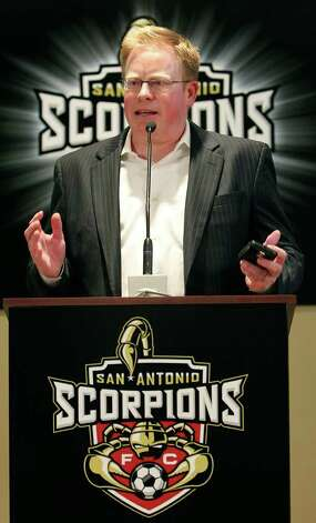 Michael Hitchcock, newly appointed president of the San Antonio Scorpions soccer team, speaks during a press conference at Morgan's Wonderland on Tuesday, April 26, 2011. Photo: Kin Man Hui/kmhui@express-news.net / San Antonio Express-News