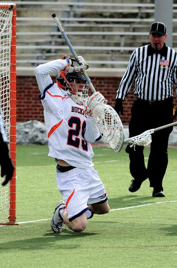 Greenwich High School grad Kyle Feeney, above, is currently manning the nets for the Bucknell Bisons lacrosse team. Feeney, who has helped the Bisons go undefeated in Patriot League play this season, was named Patriot League Goalie of the Week this week after beating Colgate 12-7 on Saturday. Tonight, Feeney will be in goal when Bucknell takes on Lehigh in the semi-finals of the Patriot League Tournament. Photo: Contributed Photo / Greenwich Citizen