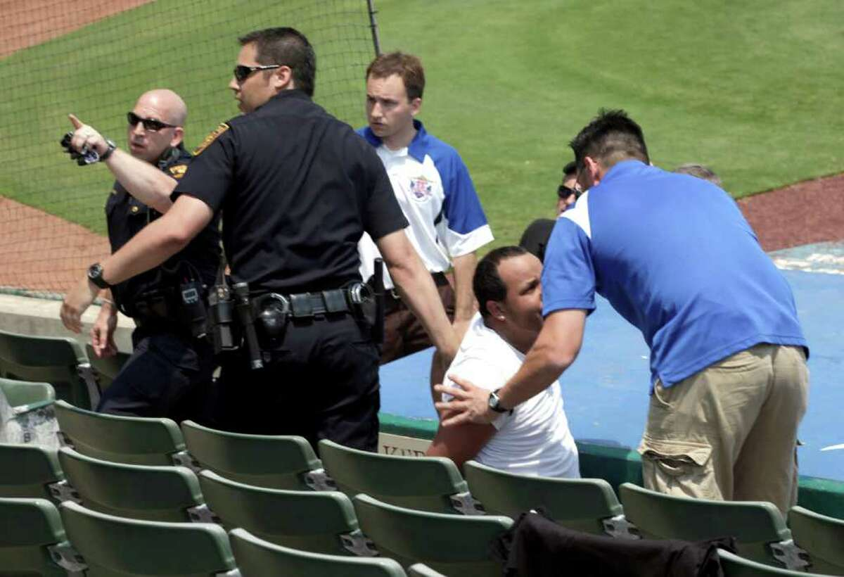 San Antonio police secure the scene where San Antonio Missions fans became involved with members of the Frisco RoughRiders at Wolff Stadium, Tuesday, April 26, 2011. Photo Bob Owen/rowen@express-news.net