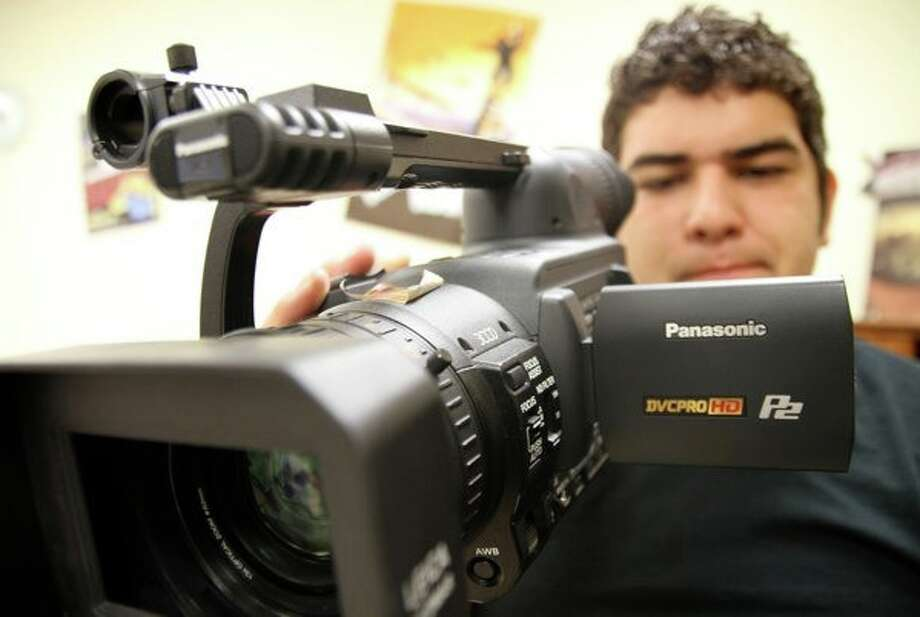 Nicco Vasquez, a student at the Film School of San Antonio at Harlandale High School, takes his place behind the camera. Photo: Courtesy Photo