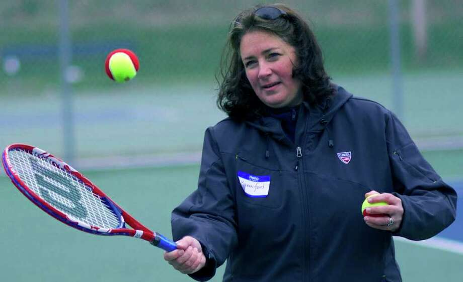 SPECTRUM/Karen Ford, perhaps the best female tennis player in New Milford High School history, is on hand Saturday as a representative of the United States Tennis Association for a coaches' clinic at the Young's Field courts in New Milford. Photo: Trish Haldin / Trish Haldin