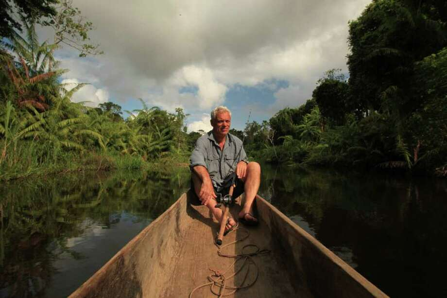 "DIVINING RODMAN - Angler Jeremy Wade,  host of the hugely  popular ""River Monsters"" program on Animal Planet channel,   travels the world to fish wild rivers for large, mysterious, potentially dangerous fish.  But said he hopes the programs encourages viewers to consider the mysteries, big and small, that hide beneath even the most seemingly uninteresting waterways.  (Photo credit: Animal Planet) / DirectToArchive"