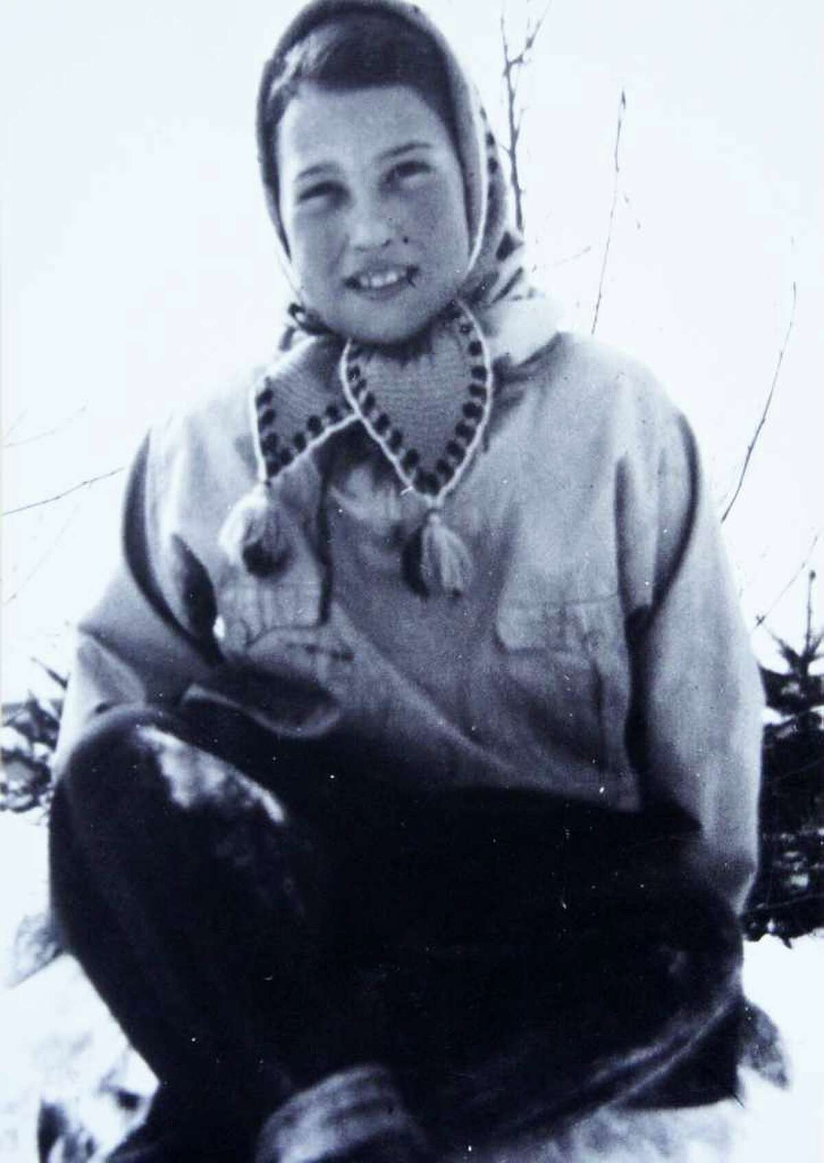 Anita Schorr sits on a Czechoslovakian mountain circa late-1930s. Prior to the beginning of World War II, Schorr and her family frequently went skiing.