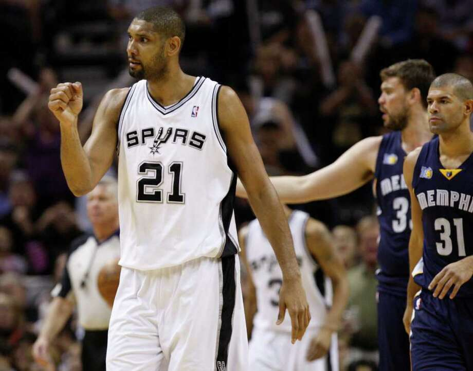 SPURS -- San Antonio Spurs forward Tim Duncan (21) reacts during the second half of game five of the Western Conference First Round at AT&T Center, Wednesday, April 27, 2011. JERRY LARA/glara@express-news.net Photo: JERRY LARA, San Antonio Express-News / SAN ANTONIO EXPRESS-NEWS (NFS)