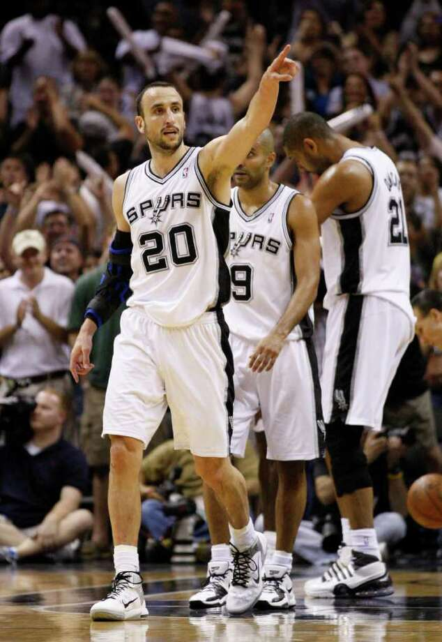 SPURS -- San Antonio Spurs guard Manu Ginobili (20) reacts during overtime of game five of the Western Conference First Round at AT&T Center, Wednesday, April 27, 2011.  The Spurs won 110-103.  JERRY LARA/glara@express-news.net Photo: JERRY LARA, San Antonio Express-News / SAN ANTONIO EXPRESS-NEWS (NFS)